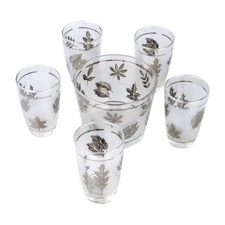 Silver Leaf Drinking Glasses Set - Set of 6 For Sale