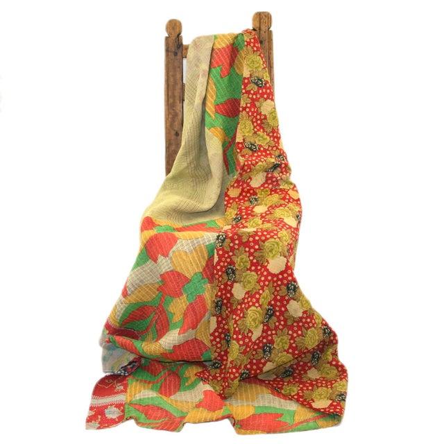 Orange and Lime Green Vintage Kantha Quilt - Image 2 of 2