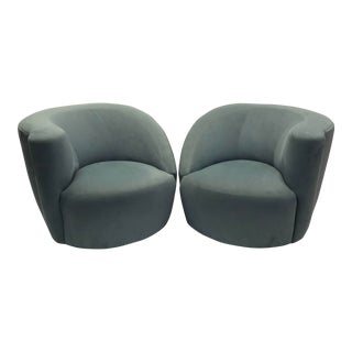 "1990's Vintage ""Nautilus"" Vladimir Kagan Blue Suede Swivel Club Chairs - a Pair For Sale"