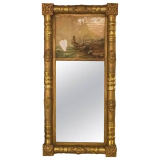 19th-20th Century Federal Style Crest Mirror For Sale