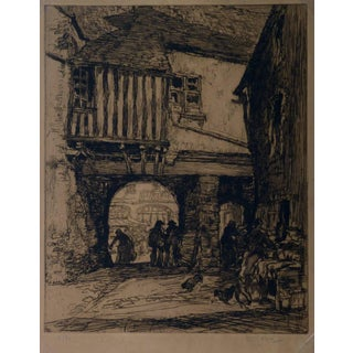 """Georges Gobo """"Market Day"""" Etching For Sale"""