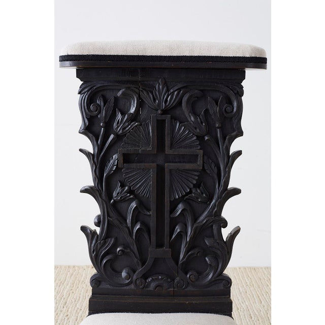 Black French Napoleon III Oak Prie-Dieu Prayer Chair For Sale - Image 8 of 13