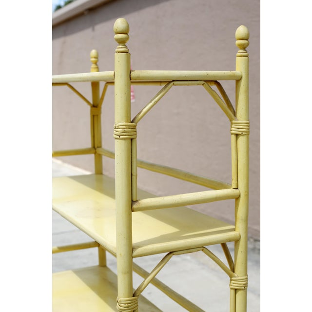 Vintage Yellow Rattan Etagere - Heavy For Sale - Image 11 of 12