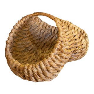 "Mid 20th Century Vintage Woven Seagrass ""Butt"" Basket For Sale"