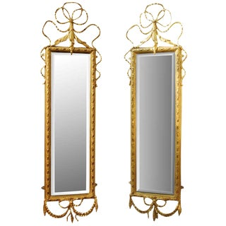 20th Century Pair Adam Style Giltwood Pier Mirrors For Sale