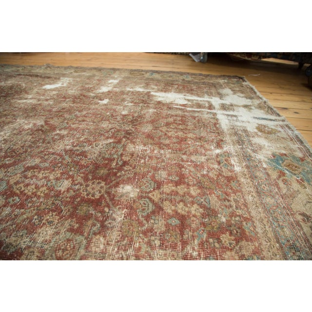 "Blue Antique Distressed Mahal Carpet - 9' x 11'6"" For Sale - Image 8 of 10"