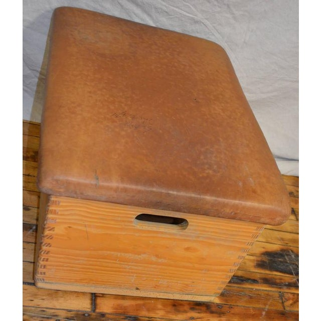 Vintage German Gymnast Leather Top Bench For Sale - Image 4 of 9