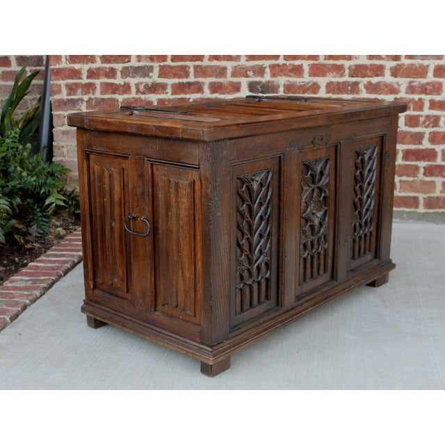 Antique French Oak 19th Century Gothic Coffer Chest Blanket Box Trunk For Sale - Image 9 of 12