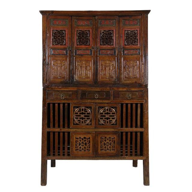 Antique Chinese Kitchen Cabinet Entertainment Center 2 Pc Chairish