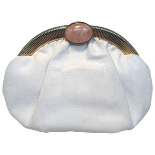 Judith Leiber Vintage White Lizard Leather Clutch For Sale