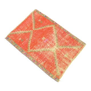 Hand Made Turkish Small Rug Distressed Low Pile Mat Bath Rug Kitchen Decor - 22'' X 30'' For Sale