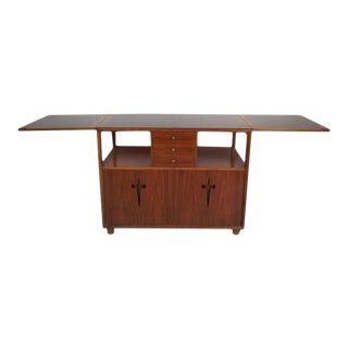 Mid-Century Modern Walnut Flip Top Bar by Edmund Spence