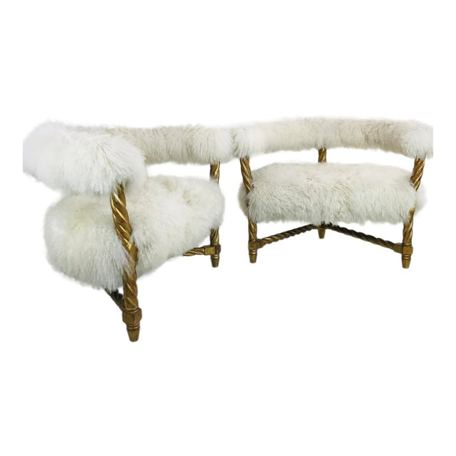 Pair Mongolian Lamb Chairs For Sale