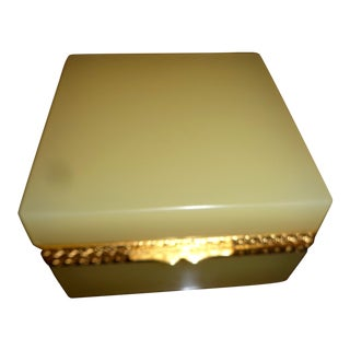 French Opaline Butterscotch Color Glass Box For Sale