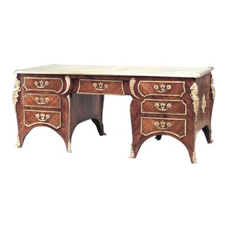 19th Century French Louis XV Style Bronze-Trimmed Kingwood Desk For Sale