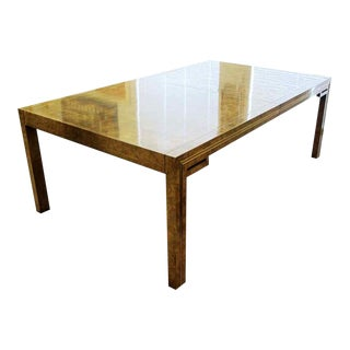 Mid Century Modern Mastercraft Amboyna Burl & Brass Dining Table with 2 Leaves '70s For Sale