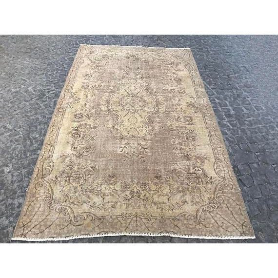 Islamic Floor Overdyed Beige Rug - 5′6″ × 9′1″ For Sale - Image 3 of 6