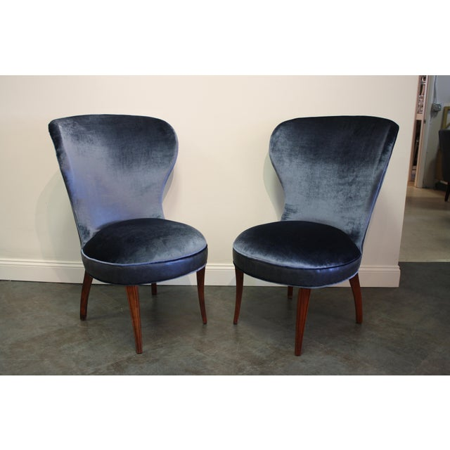 Mid-20th Century Art Deco Midnight Blue Velvet Slipper Chairs - a Pair For Sale - Image 9 of 9