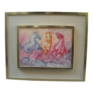 Three Wild Horses Original Painting by S. Raphaely, Framed For Sale