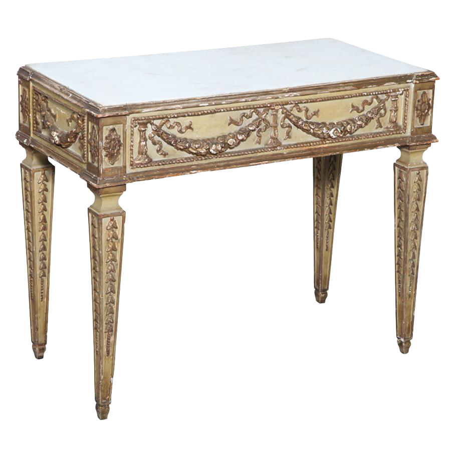 Antique Italian Marble Top Console Table For Sale