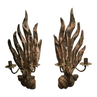 18th Century Carved Flame Shell Base Sconces - a Pair For Sale