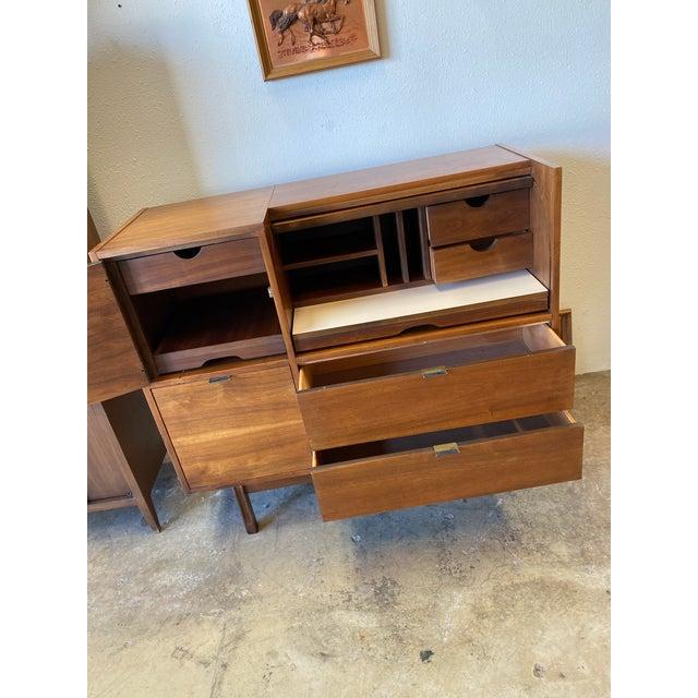 Wood Mid Century Hooker for Mainline Secretary Roll Top Desk For Sale - Image 7 of 13
