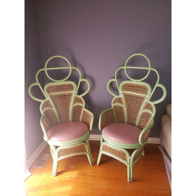 1980s Vintage Rattan Peacock Throne Chairs- A Pair For Sale - Image 13 of 13