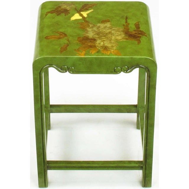 Three Embossed & Parcel Gilt Rich Jade Green Nesting Tables - Image 6 of 10