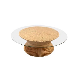 Mid Century Modern McGuire Round Bamboo Wheat Sheaf Glass Coffee Table For Sale