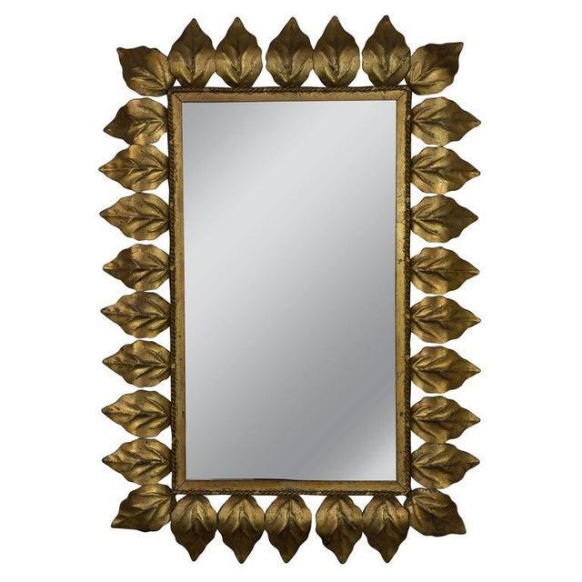 Gold Rectangular Gilt Metal Sunburst Mirror For Sale - Image 8 of 9