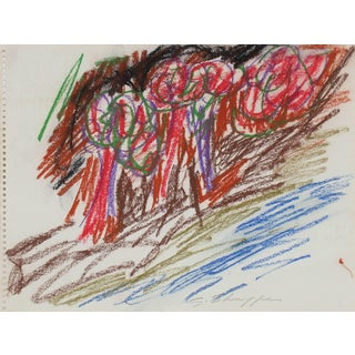 Gary Lee Shaffer Colorful Abstract Expressionist Study in Pastel With Red and Blue, 1963 1963 For Sale