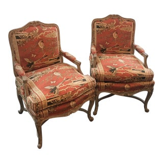 Pair of Lewis Mittman Chinoiserie Print Bergere Chairs For Sale
