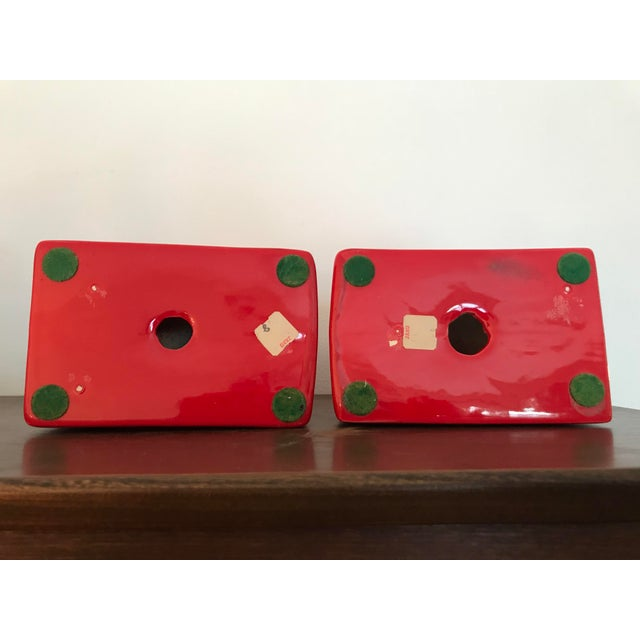 1970s Postmodern Jaru Red Ceramic Bookends - a Pair For Sale - Image 5 of 7