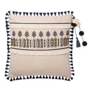 """Justina Blakeney X Loloi Natural / Blue 18"""" X 18"""" Cover with Down Pillow"""