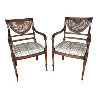 Vintage Sheraton Style Mahogany Cain Back Arm Chairs - a Pair For Sale
