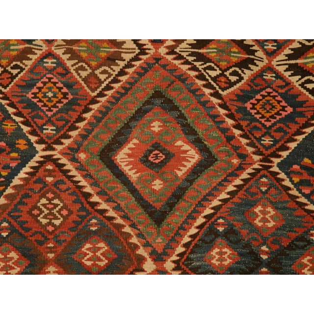 Blue Circa 1930 Persian Kilim Geometric Patterned Rug - 5′2″ × 7′11″ For Sale - Image 8 of 10