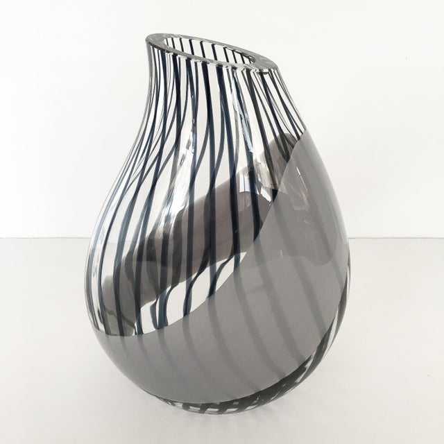 1980s Livio Seguso Striped Murano Art Glass Vase For Sale - Image 5 of 13