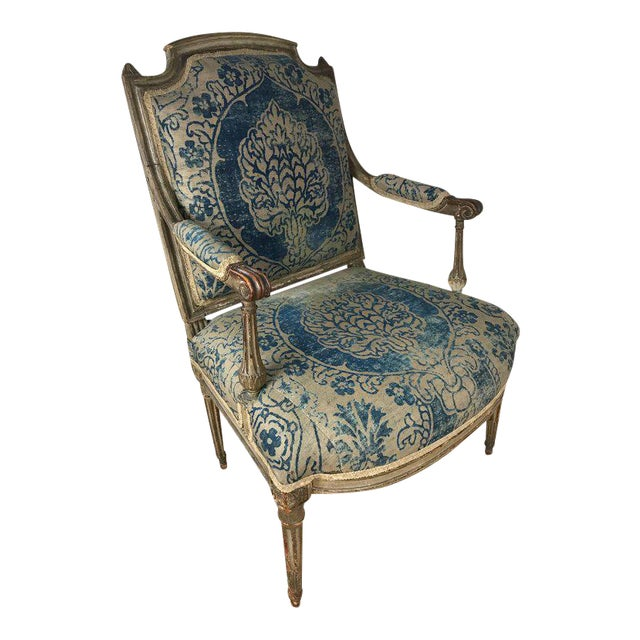 18th Century Louis XVI Bergere Chair With Fortuny Upholstery - Image 1 of 8