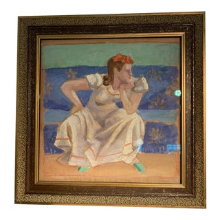 William Sewell (1901-1951) Early 20th Century Portrait of a Seated Young Woman For Sale