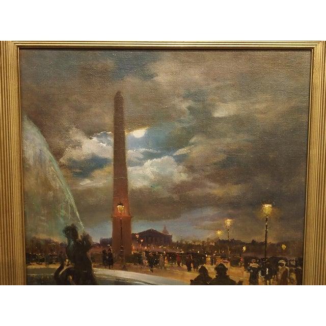 """""""Evening at La Place De La Concorde, Paris"""" Painting by Paul Balmigere (1882-1953) For Sale - Image 12 of 13"""