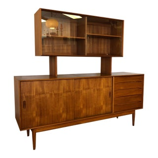 Solid Teak Danish Sideboard With Hutch by Johannes Aasbjerg Andersen For Sale
