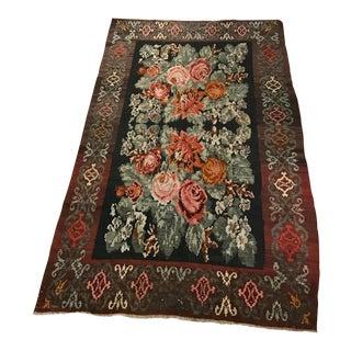 Vintage Romanian Floral Flat Weave Wool Rug - 5′4″ x 8′7″