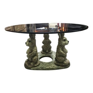 Rabbit Statue Round Glass Coffee Table