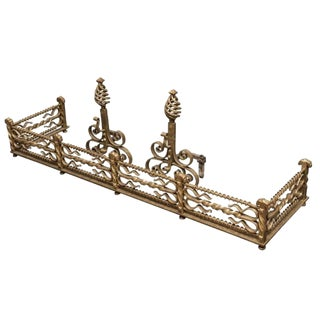 Gilt Iron Fireplace Surrounding and Tools For Sale