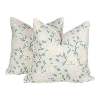 Chinoiserie Linen White Peony Pillows, a Pair For Sale