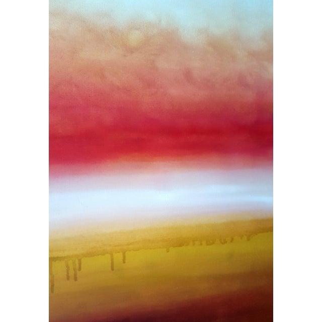 Abstract Fine Art Oil Painting Sunessence Orange Sunset Landscape For Sale - Image 3 of 4