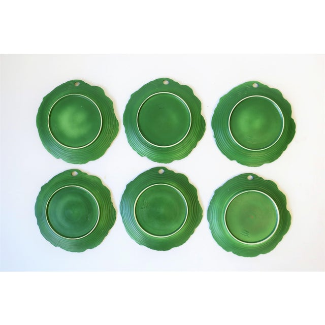 Ceramic Set of Six Italian Designer Green Matte Pottery Plates With Lotus Design For Sale - Image 7 of 10
