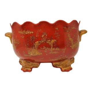 Vintage Hollywood Regency Chinoiserie Footed and Scalloped Cache Pot Red With Gold Pagoda Scene For Sale