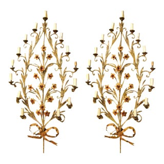 Italian Fifteen-Light Wall Sconces with Lovely Flowers and Leaves - a Pair