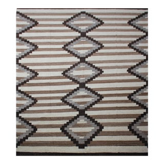 """Hand Knotted Natural Wool Navajo Style Rug - 12'0"""" X 14'6"""" For Sale"""